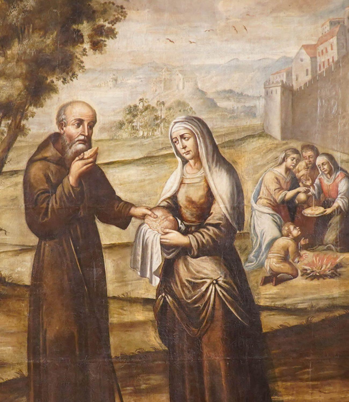 Detalhe Santo Elias e a Viúva da Cidade de Serapta [Dar de Comer a quem tem fome], Francisco Lopes Mendes, 1715.